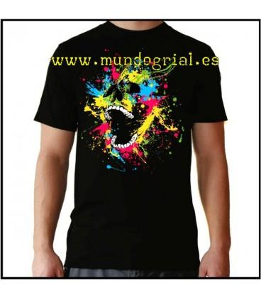 Esqueleto pintura graffiti camiseta negra