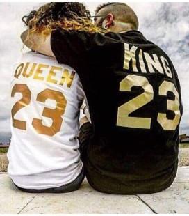 King y Queen pack camisetas letras doradas