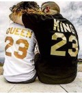 King y Queen pack camisetas letras doradas