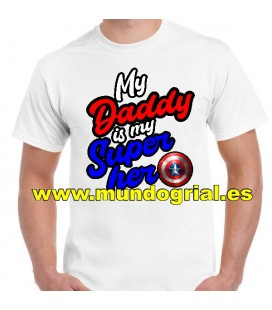 MY DADDY IS MY HERO CAPITAN AMERICA CAMISETA BLANCA