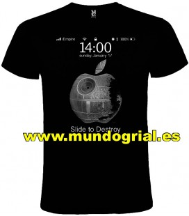 STAR WARS APPLE ESTRELLA DE LA MUERTE CAMISETA NEGRA