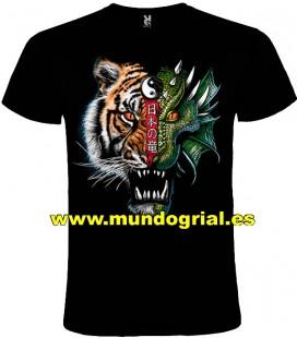 YING YANG TIGRE DRAGON CAMISETA NEGRA