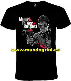 SCARFACE EL PADRINO MONEY POWER RESPECT CAMISETA NEGRA